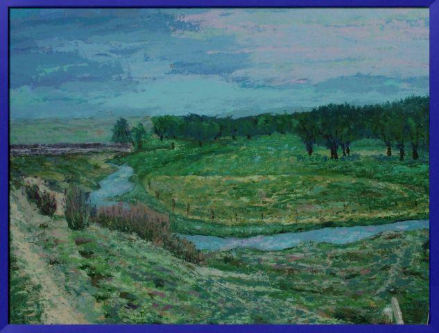 Paisaje con rio en aldea del rey niño (Avila) Panel Acrylic Landscaping