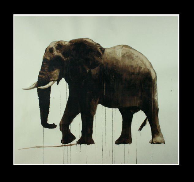 Elefante Óleo Lienzo Paisaje