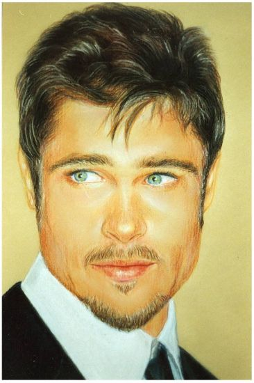 Brad Pitt Pastel Cartulina
