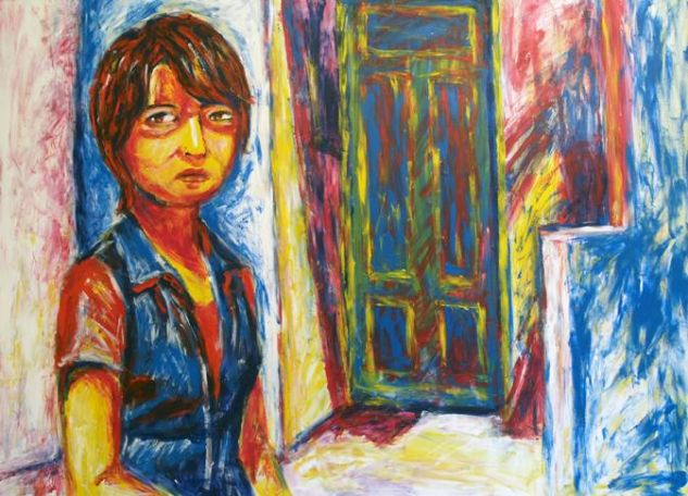 retrato de Diana y puerta azul