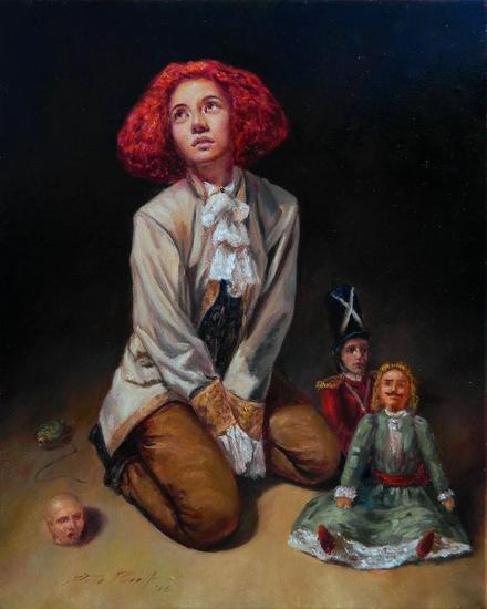 Estudio para Princesa y sus Muñecos Trans Figure Painting Oil Canvas
