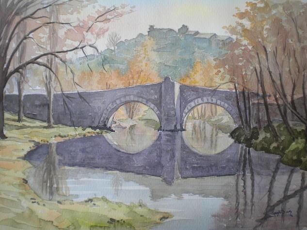 puente romano Papel Acuarela Paisaje