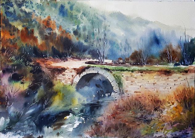 el puente en otoño Landscaping Watercolour Paper
