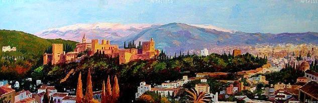 Panoramica de la Alhambra, Acrilico sobre lienzo  Paisaje Acrílico Lienzo