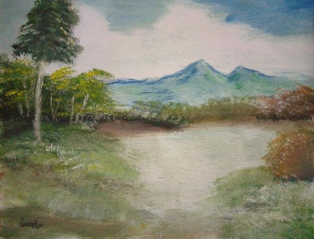 Lago Papel Acuarela Paisaje