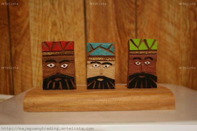 Caras reyes magos Madera Figurativa