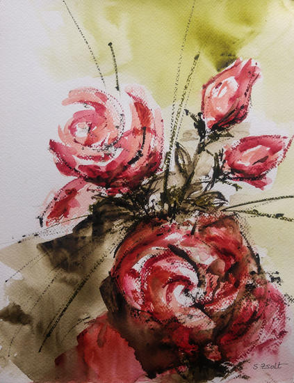 Rosas Floral Acuarela Papel