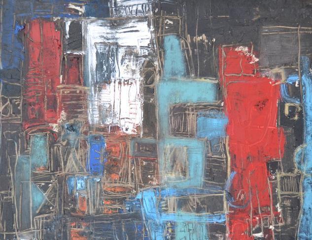 Abstracto celeste rojo Acrílico Otros Lienzo