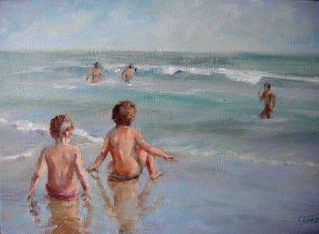 Niños en la orilla Lienzo Óleo Marina