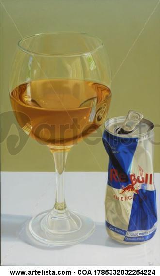 una copa de energizante Bodegones Óleo Lienzo