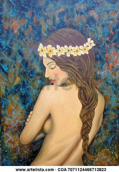 Desnudo con plumerias. Tela Óleo Figura