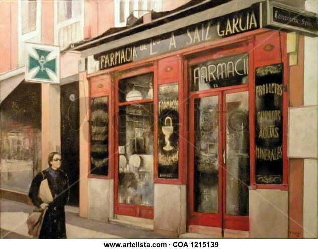 Farmacia Saiz-Madrid Landscaping Oil Canvas