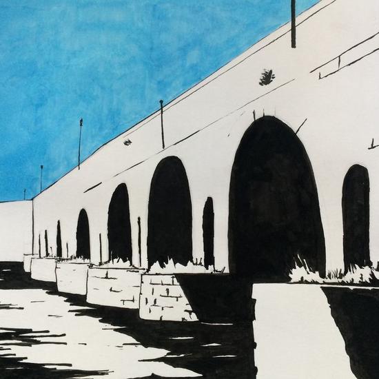 Puente Romano de Mérida Papel Tinta Paisaje