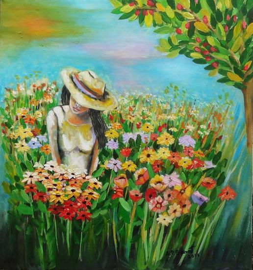 Amanecer entre flores Oil Canvas Floral Painting
