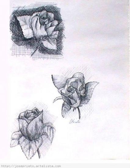 tres rosas grises Tinta
