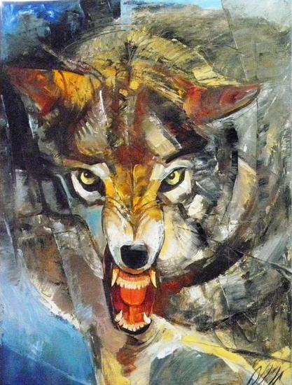 wolf Lienzo Óleo Animales