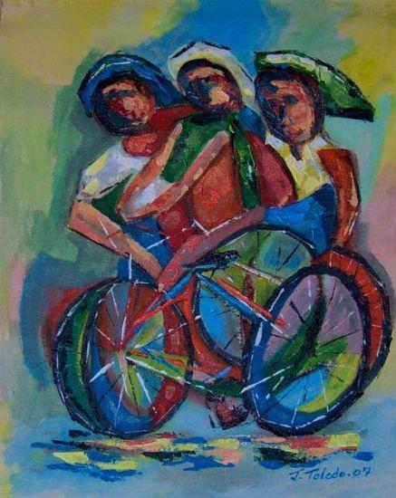 Los ciclistas ( No.2 ) Deportes Lienzo Acrílico