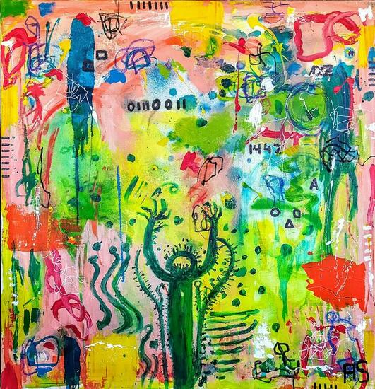 Orante psicodélico Figure Painting Mixed media Canvas