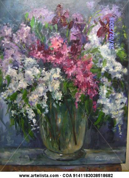 CONJUNTO FLORAL Lienzo Óleo Floral