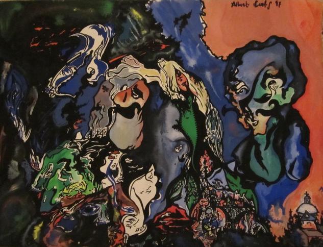 Recuerdos para Chagall Gouache Retrato Papel