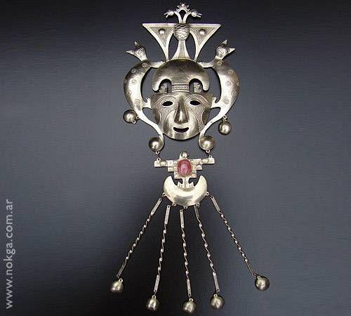 Colgante Máscara Ornamental de Alpaca y Rodocrosita. Metal Decoración