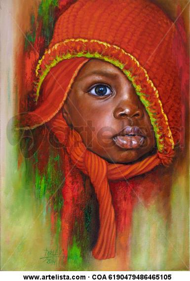 Niño de Raza Negra 82 Lienzo Óleo Retrato