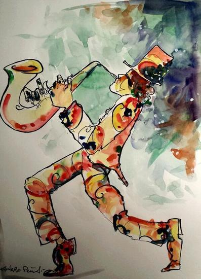 El Saxofonista mágico Papel Acuarela Figura