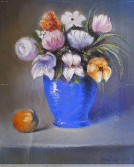 LAS FLORES AZULES Pastel Tabla Floral