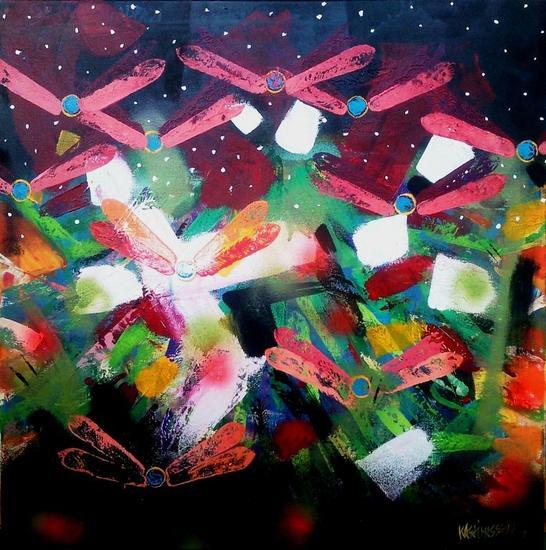 Libélulas en cuadro abstracto Lienzo Media Mixta Otros