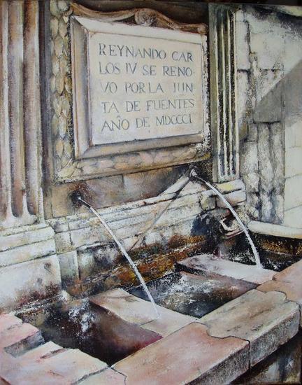 Fuente de San Martin-Leon Óleo Lienzo Paisaje