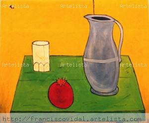 Still life with a blue pitcher(c)franciscoVidal Lienzo Óleo Bodegones