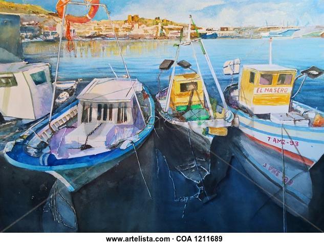 Puerto pesquero Almeria Marina Acuarela Papel