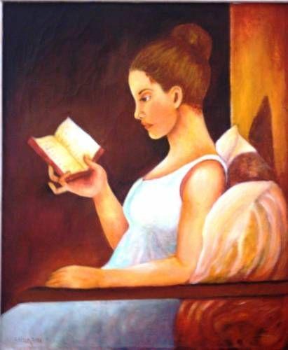 En la lectura Óleo Lienzo Figura