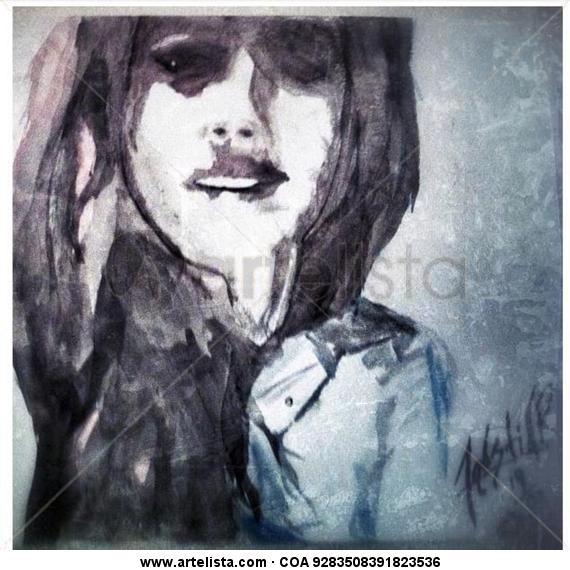 La sombra de sus labios Cartulina Acuarela Retrato