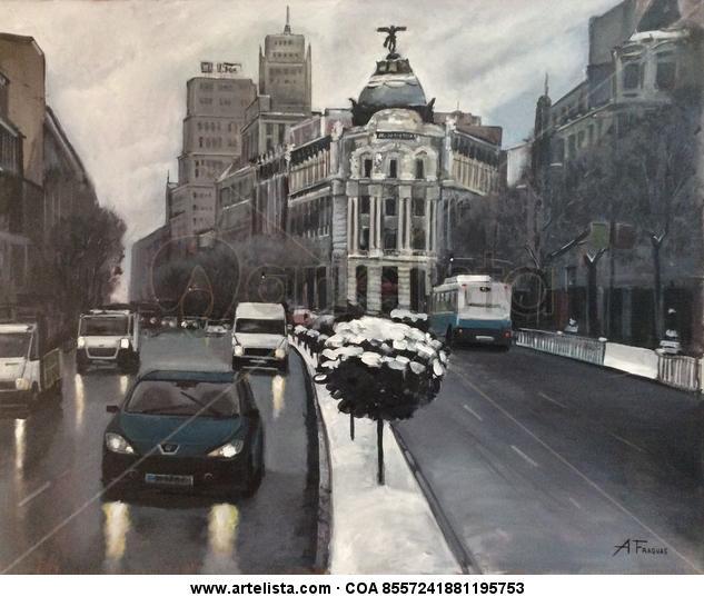 NIEVE EN LA GRAN VÍA DE MADRID. Lienzo Acrílico Paisaje