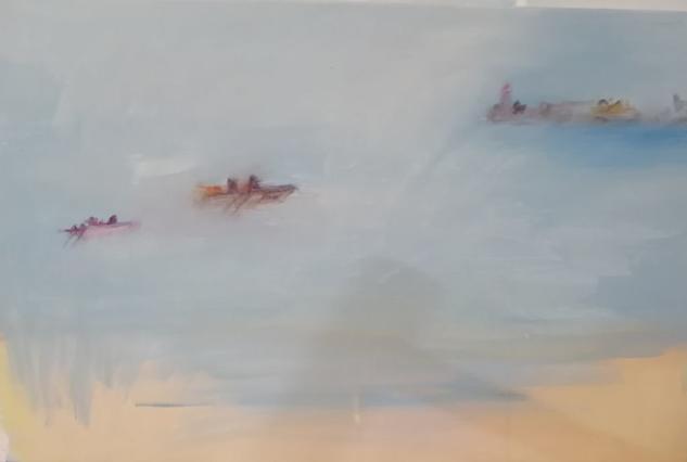 Barquito de lejos Marine Painting Acrylic Canvas