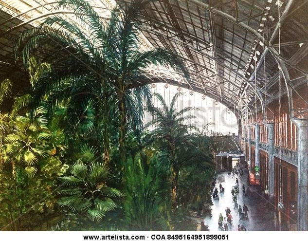 Madrid, Estación de Atocha Papel Acuarela Paisaje