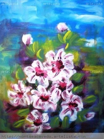 Ramo de flores blancas Lienzo Acrílico Floral
