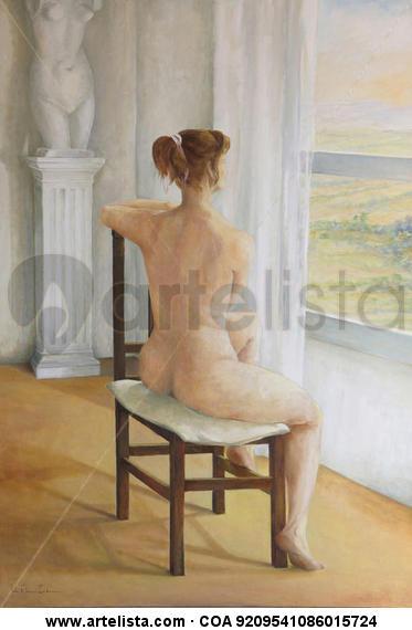 En contemplacion Lienzo Óleo Desnudos