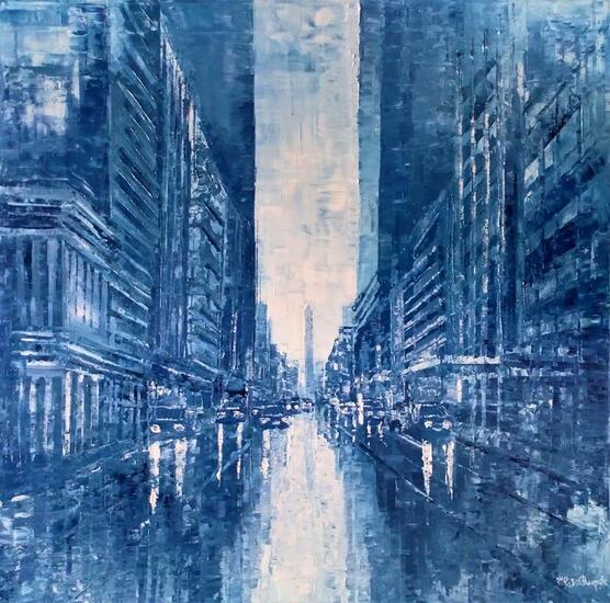 Buenos Aires celeste y blanco Landscaping Oil Canvas