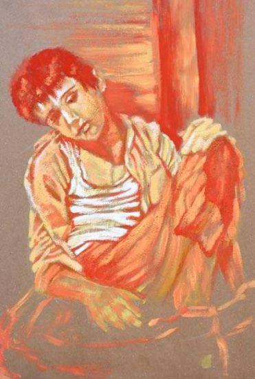 EL DESCANSO Gouache Paper Figure Painting