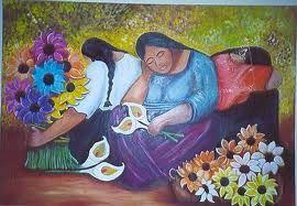 vendedoras de flores Óleo Lienzo Paisaje