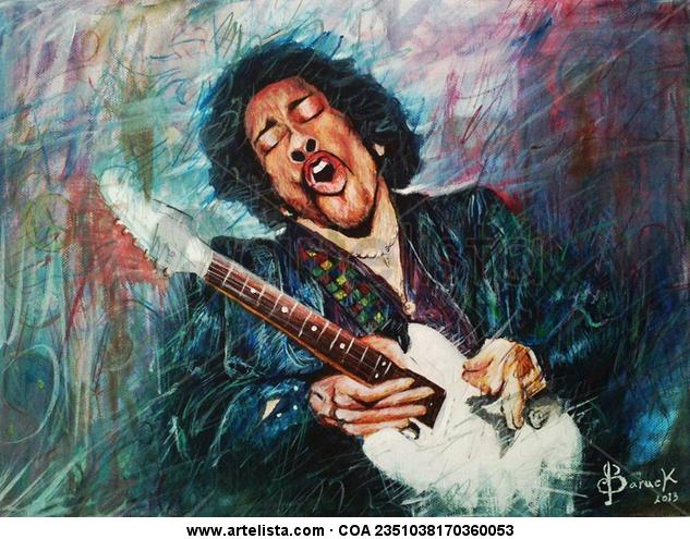 The Voodoo chile Hendrix Lienzo Acrílico Retrato