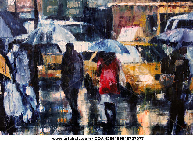 City rain Tabla Óleo Paisaje