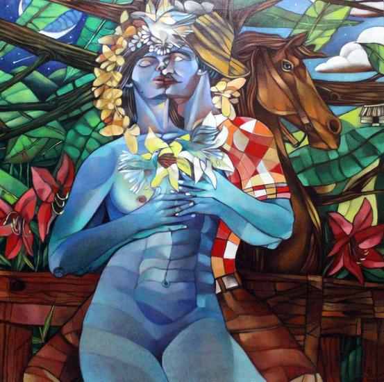 El Beso  Figure Painting Oil Canvas
