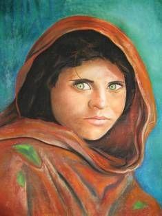 Los ojos del  alma Pastel Lienzo Retrato