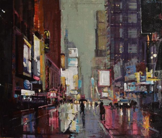 Una noche en NYC  Paisaje Óleo Lienzo
