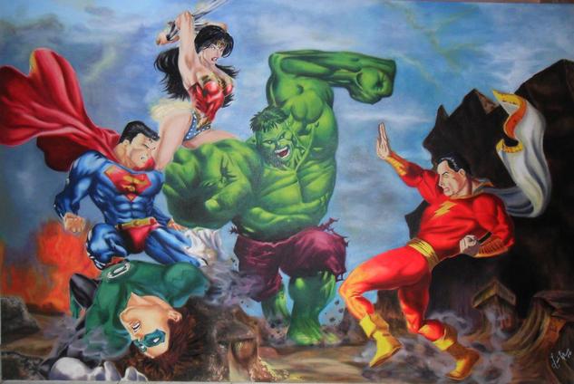 El Increible Hulk Figura Óleo Lienzo