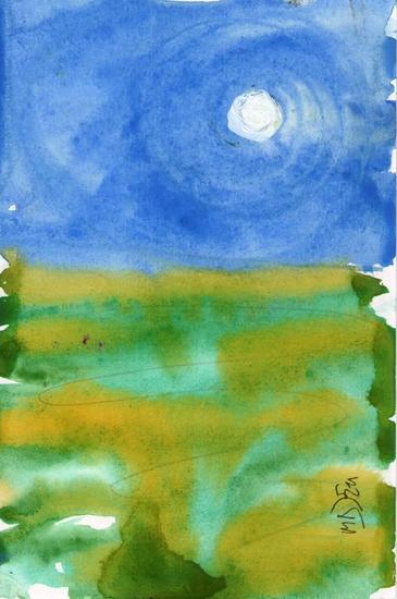 Luna Azul Blue Moon Cartulina Acrílico Paisaje