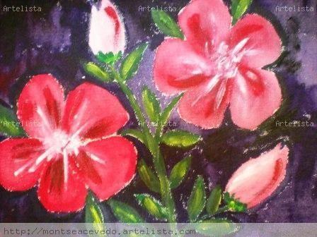 Ibiscos Rojos Lienzo Acrílico Floral